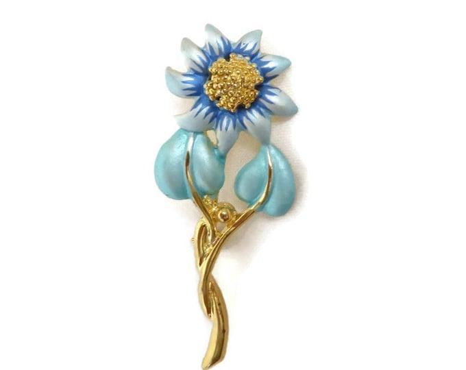 Vintage Enameled Gold Tone Brooch - Daisy Flower Enameled Pin,  Matte Blue Green Flower Gift Idea