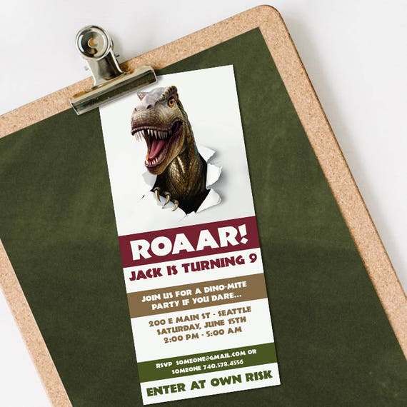 Dinosaur Birthday Invitation INSTANT DOWNLOAD