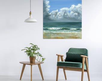 "Ocean Painting Sea Art Oil Original // ""Peppermint Cove"" 30 x 30"" Canvas"
