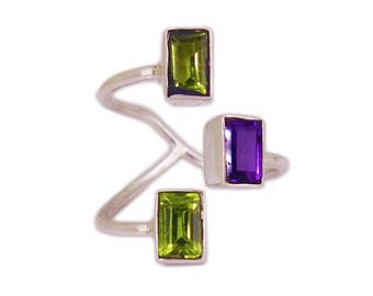 """""""Game Of ingot"""" open ring silver Sterling and gemstone Peridot/Amethyst"""