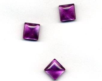 Cabochon square 8 x 8 mm - fuschia color satin
