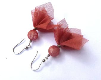 Recycled tulle jewelry. Upcycled earrings made from tulle and sterling silver hooks.