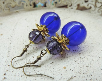 "Earrings ""fruit defended"" blown glass beads"