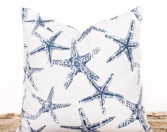 SALE ENDS SOON Blue Starfish Pillow Cover, Navy Pillows, Navy and White Nautical Pillows, Beach Pillows, Ocean Theme Pillow Covers