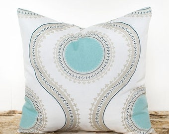 SALE ENDS SOON Large Geometric Design Pillow Cover, Teal, White, Taupe, Throw Pillow Cover, Cushion Cover, Soft Cotton Pillowcase