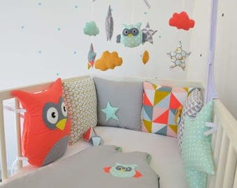 OWL bumper / owl, cloud and star - color gray, coral, mint, mustard
