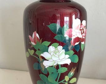 Red cloisonne Japanese vase.