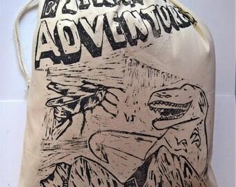 Strange Adventures (Black) Large Handprinted Drawstring Bag