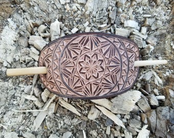 Geometric hand carved leather hair barrette - hair accessories