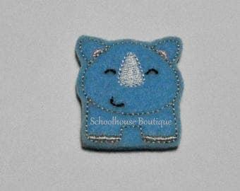 Blue Rhino felties, felt bookmark, felt paper clip, felt badge reel, key chain, hair bow center, hair accessory, feltie supplies