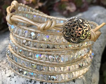 5-6 Wrap Bracelet with Crystal and Silver Beads on Pealized Ivory Leather Cord - Chan Luu Style
