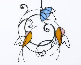 Suncatcher Stained Glass Hummingbirds Birds Home decor Gift