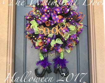 Witch Wreath Halloween Wreath Witch Hat and leg wreath Character Wreath Spooky Wreath glitter wreath fall wreath witch leg wreath
