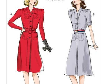 6282, Butterick, Retro 41', 1940's Style Dress, Button-Front Dress, reproduction pattern, vintage style, WW II, USO, Nurse Uniform