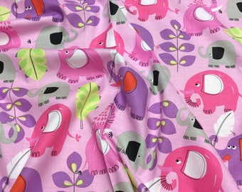 Michael Miller CX5870 Pink Elephants Pachyderm Shower Patchwork Quilting Fabric