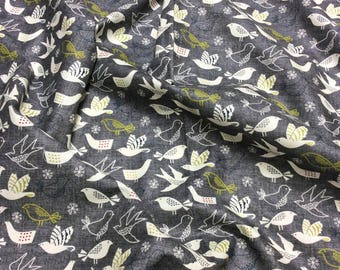 Nutex Wildwood Birds Grey Patchwork Quilting Dressmaking Fabric