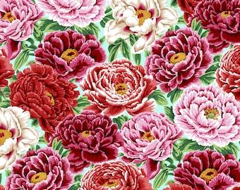"Philip Jacobs ""Snow Leopard Designs"" English Garden Peonies PWSL053 Spring Free Spirit Fabric"