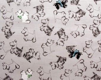 Jane Makower Inprint Grey Scottie Dogs Patchwork Quilting Sewing Dressmaking Fabric