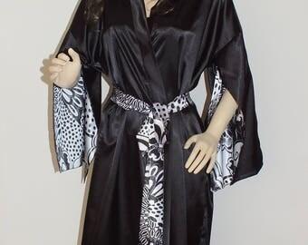 "Long  charmeuse robe . Black-White robe. 53""Floor length  robe. Plus size robe"