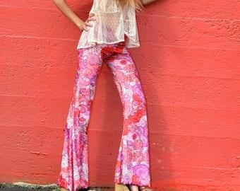 VELVET 70'S floral paisley velour fall fashion hippie chic boho dance yoga festival gypsy flare bell bottom pants