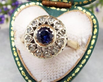DEPOSIT FOR C Antique Edwardian Art Deco 9ct Yellow Gold Blue Sapphire Cluster Ring / Size M