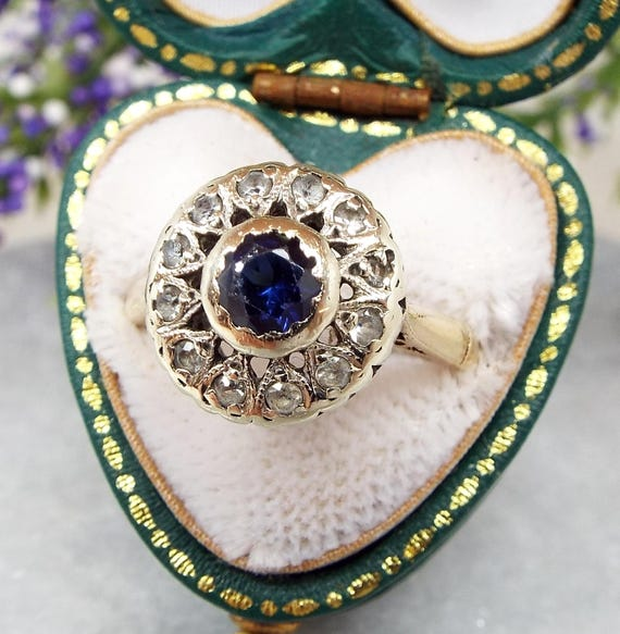 Antique Edwardian Art Deco 9ct Yellow Gold Blue Sapphire Cluster Ring / Size M