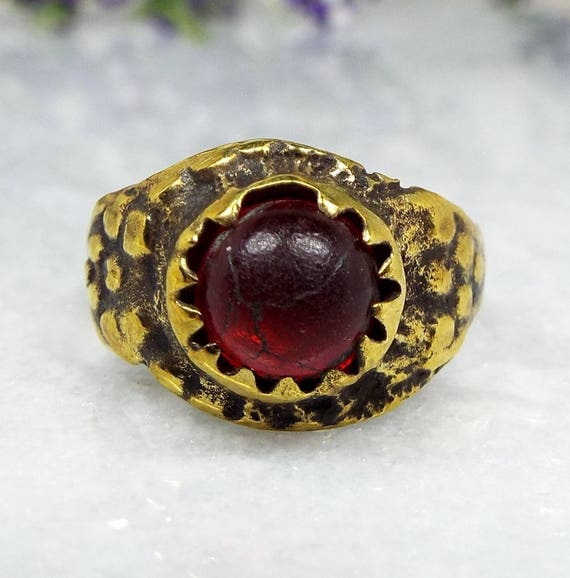 Antique Ancient Medieval Tudor Gold Bronze Stone Dragons Eye Scales Ring / Size K