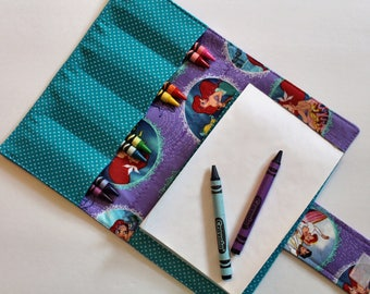 Crayon Holder - Kids Coloring - Travel Toy - Ariel Crayon Case  - Coloring - Kids Coloring - Children's Gift - Party Favor