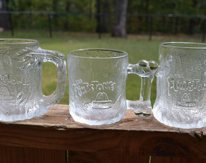 Vintage Flinstones Glass Mug Set of 3 McDonalds  1993 Promotional  Collectible PanchosPorch