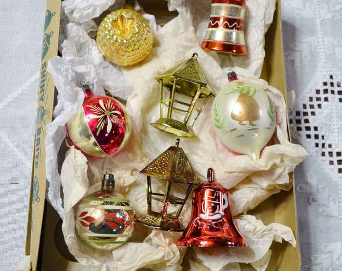 Vintage Glass Christmas Ornaments Box of 8 Assorted Colors Shapes Tree Holiday Decor PanchosPorch