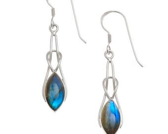 Blue Labradorite Marquise Knot Earrings 925 Silver
