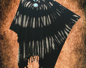 Bleached Minimalist Hand dyed Artwork Fringe Blouse Cover Up Poncho Top