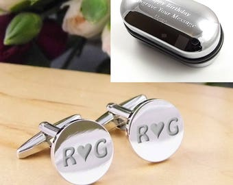 Silver Personalised Engraved Initial ROUND Wedding Cufflinks - Personalised Engraved Gift Box Available