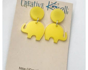 Acrylic Earrings, Elephant, Yellow