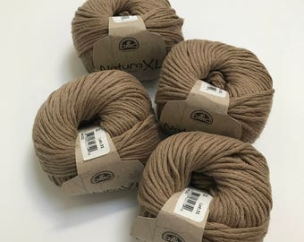 Natura XL Bulky Cotton Yarn in Khaki // 4 Skein Pack // Stash Sale