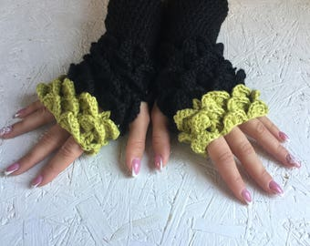 Fingerless gloves dragon scales gloves  women fingerless gloves Crocodile Stitch women's Arm Warmers winter gift Accessory
