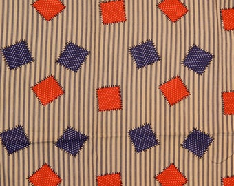 """Vintage Fabric Blue Ticking Stripe with Red White Polka Dot Blue White Polka Dot Patches NOS GC Murphy 44"""" wide x 1.5 yards 70s Seventies"""