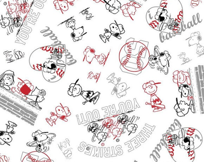 PEANUTS ALL STARS - Character Line Drawing in Black / White - Charlie Brown Cotton Quilt Fabric - Quilting Treasures Fabrics- 24529-jz W3997