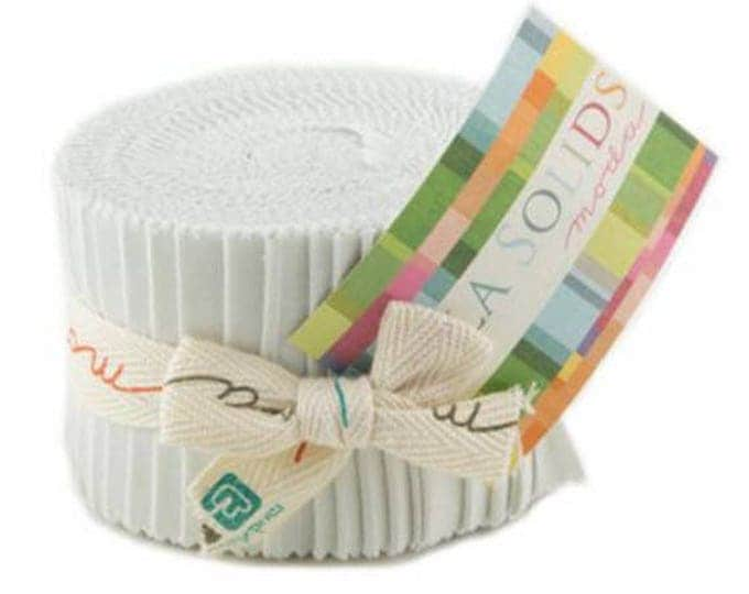"Moda JUNIOR Jelly Roll BELLA SOLIDS - Feather - (20) 2 1/2"" x 44"" strips - Solid Cotton Quilt Fabric - 9900JJR-127 (W4387)"