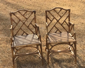 Beautiful vintage French rattan Chinese Chippendale chairs