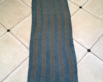 Etsy49 Grey Blue Dyed Vintage Linen Grain Sack with Buff Stripe