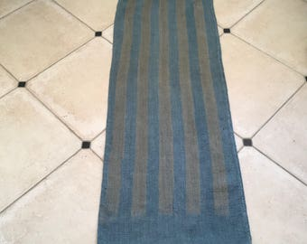Etsy48 Grey Blue Dyed Vintage Linen Grain Sack with Buff Stripe
