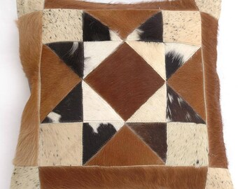 Natural Cowhide Luxurious Patchwork Hairon Cushion/pillow Cover (15''x 15'')a137