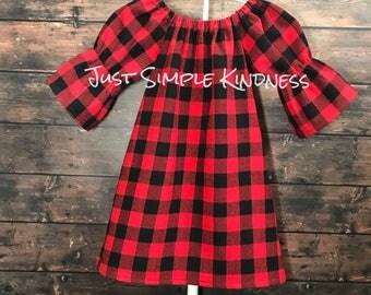 Girls Christmas Dress, Girls Buffalo Plaid Dress, Buffalo Plaid,  Girls Dresses, Baby Dress, Toddler Dress, Baby Girls Dress, Buffalo Plaid