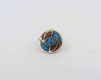 Vintage Southwestern Sterling Silver Inlay Turquoise Ring Size 2.75