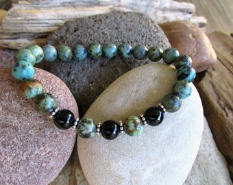 African Turquoise, Black Onyx and Sterling Silver Elastic Bracelet