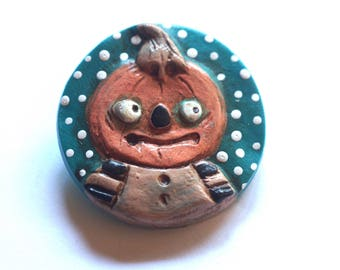 Halloween Jack o Lantern Pumpkin Pin Brooch made from Polymer Clay