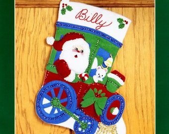"Bucilla Engineer Santa ~ 15"" Felt Christmas Stocking Kit #33096 Train Teddy Bear"