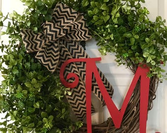 BOXWOOD WREATH,Summer Wreath, Monogram Wreath,Year Round Wreath,Farmhouse Wreath,Spring Wreath,Fall Wreath,Front Door Wreath