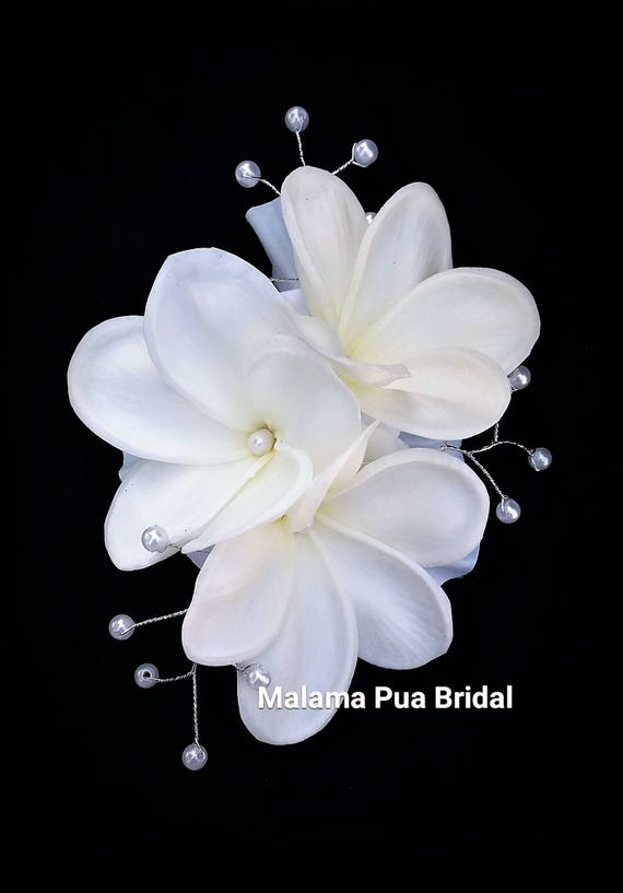 WEDDING HAIR CLIP Tropical Hawaiian Plumeria Bridal Silk